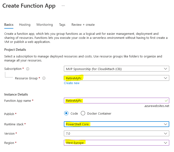 create a function app wizard.PNG