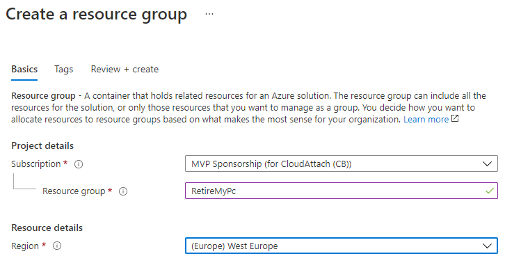 creating a resource group - select region.PNG